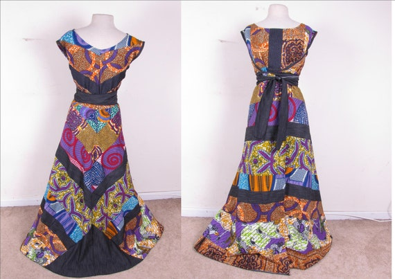 Patchwork Chevron Reversible African Wax Print Full Circle Wrap maxi Full Length Dress one size