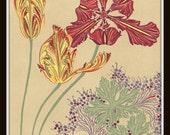 Art Nouveau Botanical Art Print Plate 123 8x10 Art Print Home Decor Arts and Crafts Era Prairie Style Mission Style Bungalow