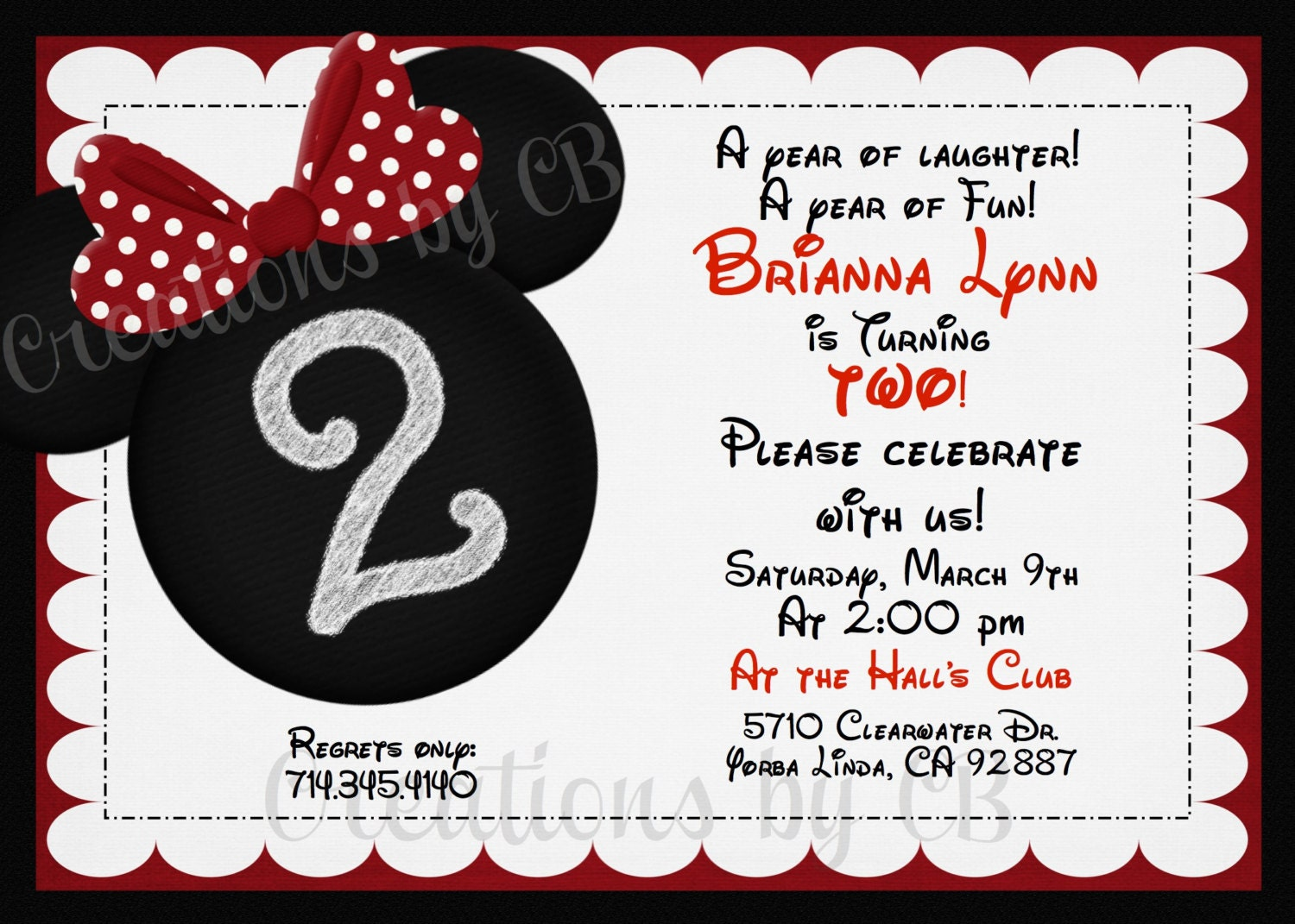 Minnie Mouse Birthday Party Invitation Quotes