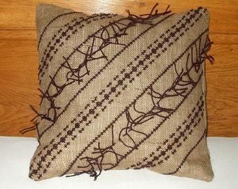 Traditional Rustic Embroidered Natural Wool - Burlap Jute Cushion Cover