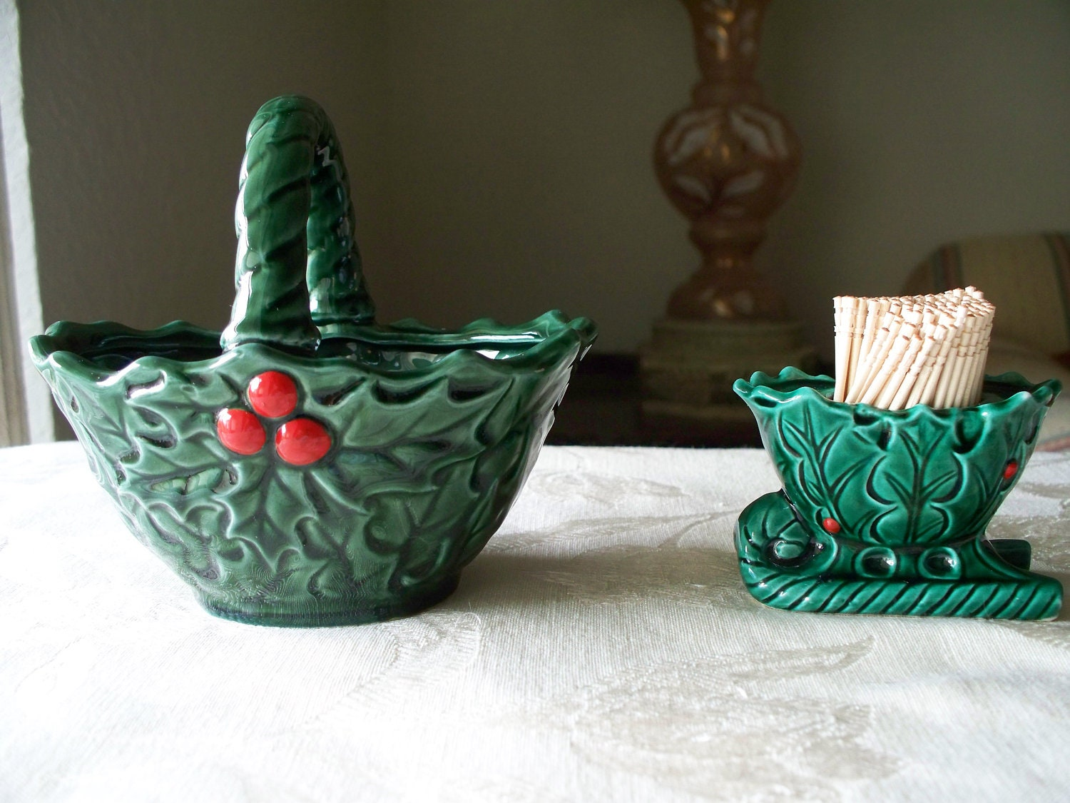 Vintage ceramic christmas holly candy dish by