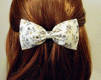 Simply Sweet Country Floral Hair Bow- Vintage Look- Headband, Alligator Clip, or Barrette