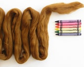 MERINO WOOL TOP - Golden Brown (approximately 1 oz) - From Purple Moose Felting