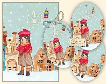 Sofia - Merry Christmas - post card and gift tag - digital collage - set of 2 sheet