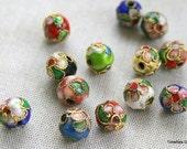 10mm Multi-Color Floral Cloisonne Beads