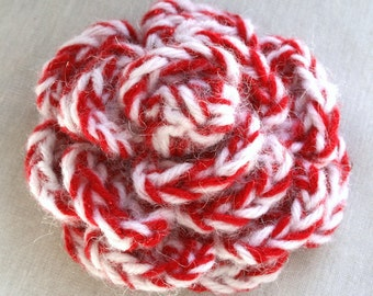 Sparkly Candy Striped Holiday Crocheted Rose