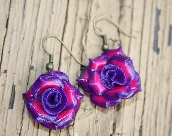 Purple and Pink Mini Rose Earrings