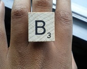 What's My Name Ring B: Wooden Scrabble Initial Letter Ring