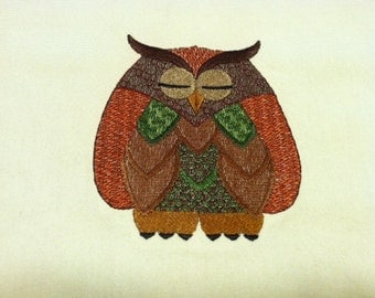 Embroidered Tea Towel OWL