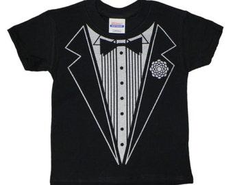 Boys tuxedo shirt kids tux tee Kids size Tuxedo T-shirt wedding formal