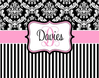Unique Shower Curtain - Damask and Stripe - Black, White & Pink - Personalized Shower Curtain, Custom Monogrammed Curtain