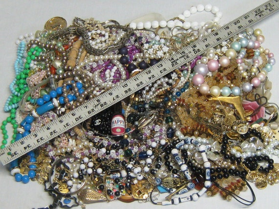 6.5 Pounds Vintage Jewelry Steampunk Recycle Repurpose Beads Metal Chains