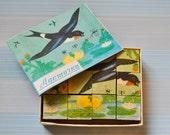 """Vintage Soviet wooden box of bricks""""Birds"""""""