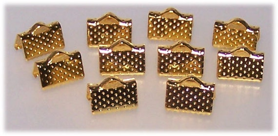 25Pc. Gold tone plated finish// 10mm x 7mm crimp ends// Crimp Ends// End Terminators//DIY jewelry making end terminators