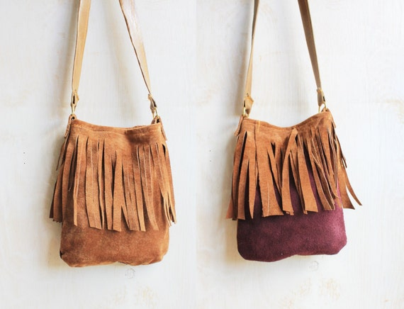 The fringed messenger pouch - Purple and Tan Brown suede