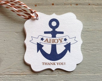 12 Ahoy thank you tags (nautical baby shower / birthday party)
