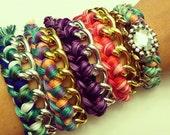 Chain Bracelet, gold bracelet, braided bracelet, gold chain bracelet, mint bracelet, chunky gold, woven chain bracelet, embroidery floss
