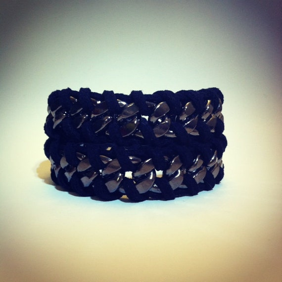 Chain Wrap Bracelet chunky chain with black suede cord