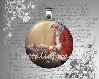25mm glass tile pendant necklace Kneeling Santa Christmas manger baby Jesus image domed cabochon