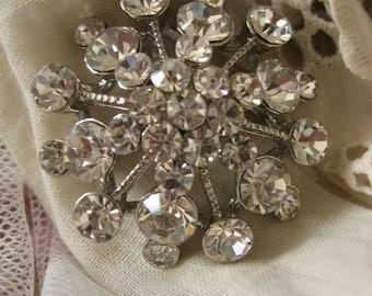 Olivia sparkle wedding bridal rhinestone crystals dress round brooch pin, bridesmaids brooch, flower brooch, crystals brooch, engaged