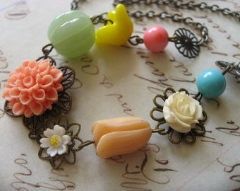 SALE - Tangerine nature garden flowers necklace