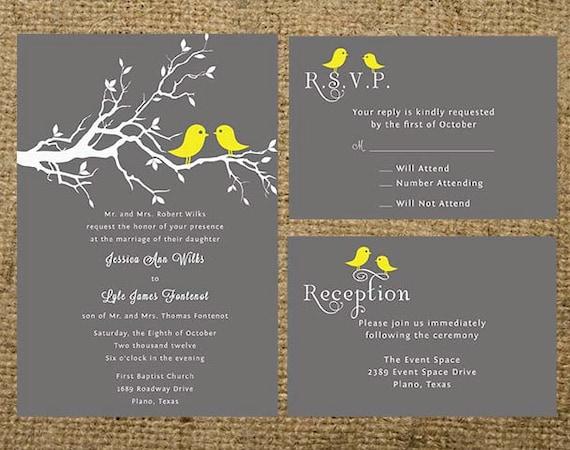 Yellow Grey Wedding Invitations: Gray And Yellow Love Birds Wedding Invitation Set Suite