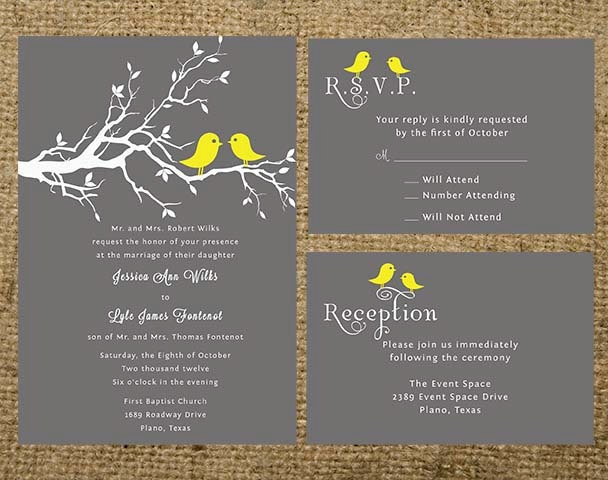 Love Birds Wedding Invitations: Gray And Yellow Love Birds Wedding Invitation Set Suite