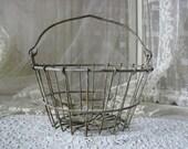 Shabby Rustic Antique Vintage Metal Wire Egg Basket Home Decor