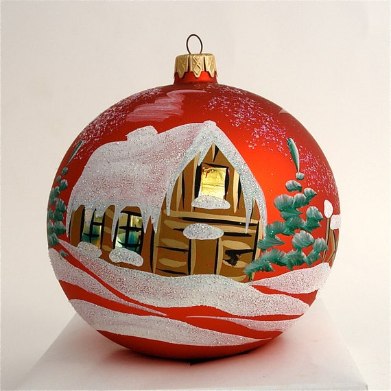 Items similar to hand painted christmas ornament glass for Glass christmas ornaments to paint