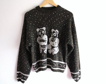 Vintage Sweater Bear Knitwear Cozy Blouse White Bears Womens Clothing 80s Fall Winter
