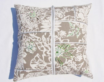 Gray Mint Green Zipper Crazy Decorative Pillow Cover 19 inch square Beaded Floral White Gray Home Dec Fabric