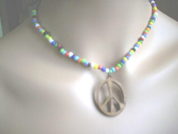 "Peace ""Hippie"" Beaded Necklace"