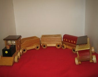 """WOODEN TRAIN HANDCRAFTED 35"""" long"""