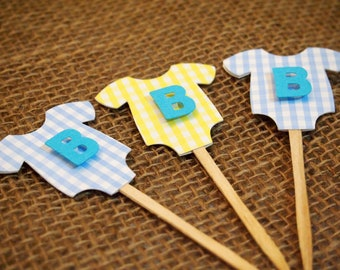 """Blue/Yellow  """"B is for Baby"""" One-Piece Bodysuit Cupcake Toppers: Perfect Decoration for Baby Showers"""