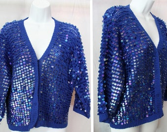 Vintage Blue Sequin Crocheted Oversized Sweater