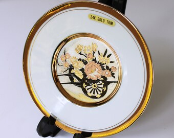 Silver/Copper/24k Gold Japanese Chokin Plate with Display Stand, Wheelbarrow with Flowers