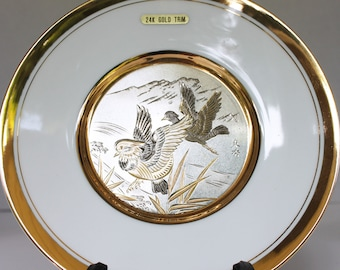 Silver/Copper/24k Gold Japanese Chokin Plate with Display Stand - Ducks in Flight