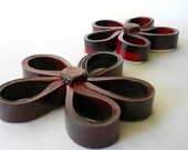 Fun and Edgy Red and Black Wall Flower Pair with a Black Center and Red and Silver Glitter