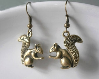 Squirrel Earrings antique brass Woodland critter