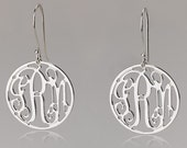"Monogram Earrings - 0.9""  925 Sterling Silver"