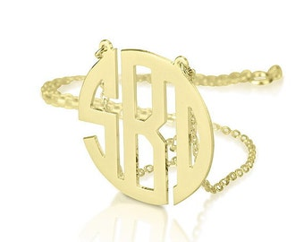 Monogram necklace - 1.75 inch Personalized Monogram - 925 Sterling silver 18k Gold Plated Block Font