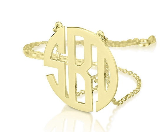 Monogram necklace - 1.25 inch Personalized Monogram - 925 Sterling silver 18k Gold Plated Block Font