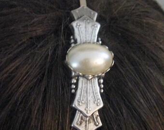 Antiqued Silver Oxidized Pearl headband Victorian vintage PEARL steampunk renaissance mythological style ornate European