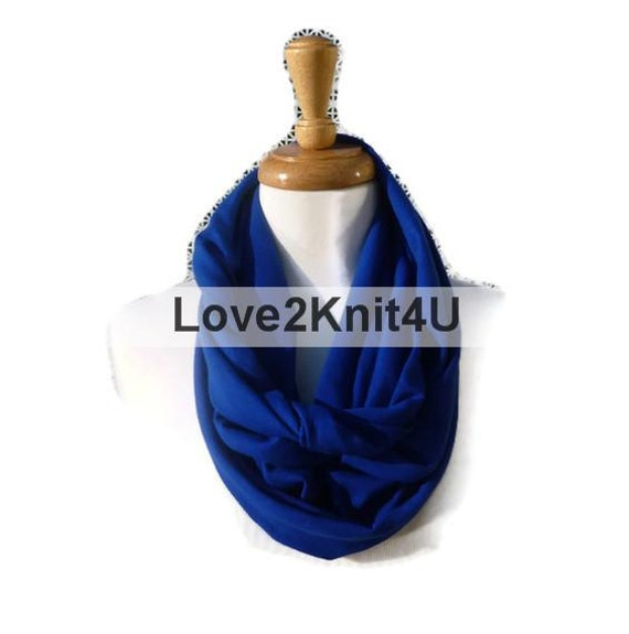 Infinity Circle Loop Fall Fashion Scarf Necklace Eternity Seamless Tube Neckwear Love2Knit4U Cotton Jersey Circle Scarves - Cobalt Blue
