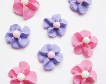Hot Pink and Purple Royal Icing Flowers with White Sugar Pearl Center (100)