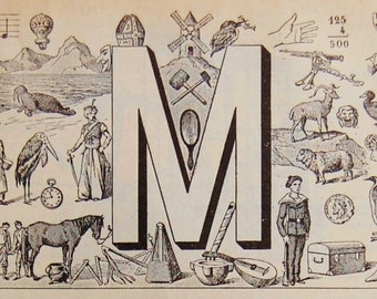 Antique French Dictionary Page - Initial - The Letter M - Alphabet - Original Engraved Lithograph 1937 -  Published in Paris