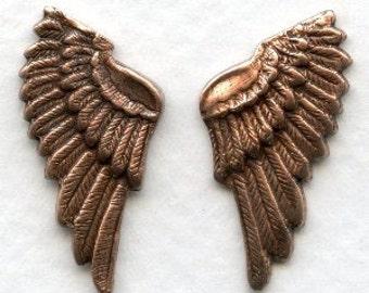 6 Little Copper Plated Bird Wings, Angel Wings 25mm