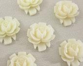 6 Pcs. 16mm  Rose Cabochon Winter White FL010-WH