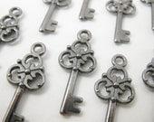 Shop Closing Sale! 10 pcs Black Small Vintage Style Key Charm Tibetan Silver 23mm x 10mm CM019-BL