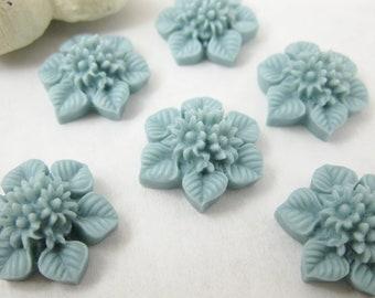 Shop Closing Sale! 6 Pcs. 21mm  Slate Blue Flower Bouquet and Leaf Cabochon FL007-BL